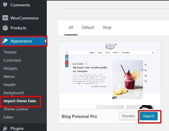 One Click Demo Import ‹ Blog Personal pro — WordPress (1) - Theme 404