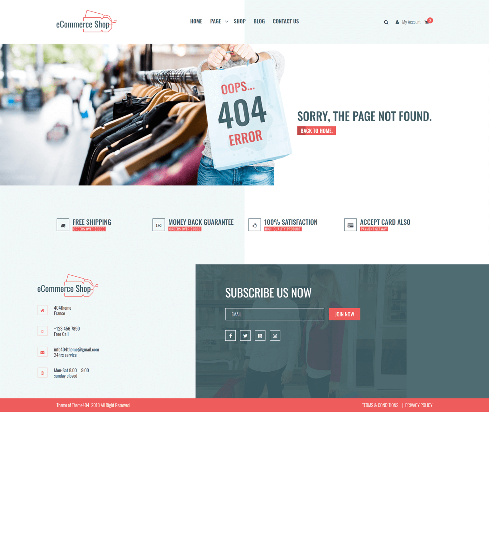 eCommerce Shop - Theme 404
